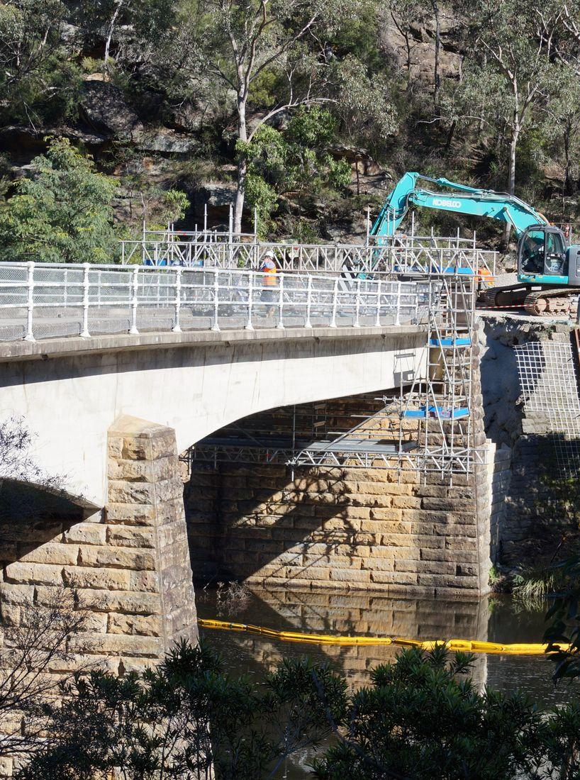 Mobile Scaffolding Underneath Bridge