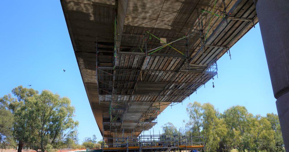Scaffolding Below Concrete Bridge
